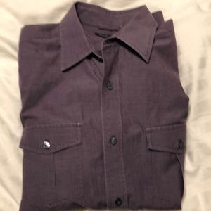 Men's L purple L/S button down shirt.